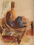 Reading Girl, pastel on paper, 67*90 cm